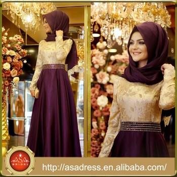 Ate18 New Arrival Elegant Abaya Kaftan Gold And Purple Beaded Hijab