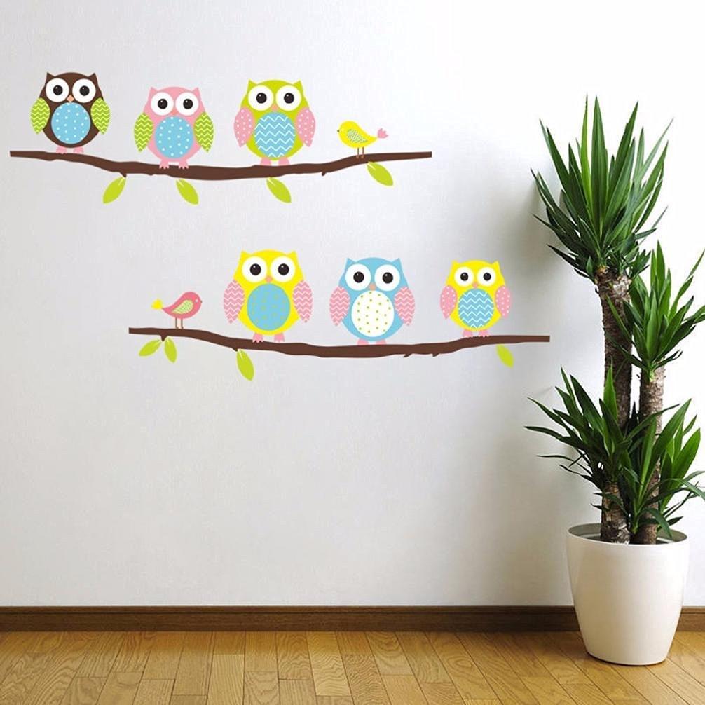 Iuhan® Fashion Six Owls Bird Removable Decor Environmentally Mural Wall Stickers Decal