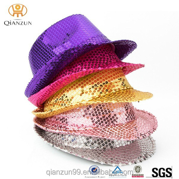 Wholesale Black Party Top Hats, Sequin Fedora Party Hat