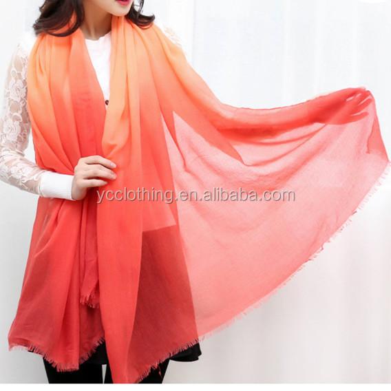 Orange couleur change progressivement de couleur lin coton hijab écharpe  pour femmes e55353595d6