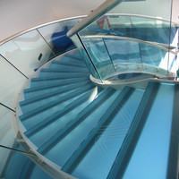 Modern Simple Designed glass treads curved staircase