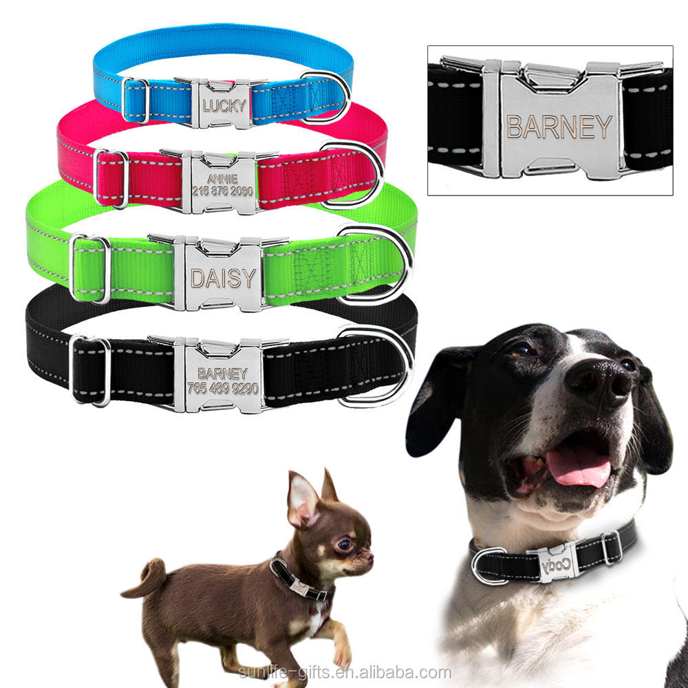 Small MOQ wholesale Reflective Nylon Personalized Dog Collars Custom Pet Tag Collars