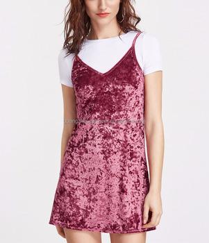 Women Burgundy Crushed Spaghetti Strap Velvet Dress Summer 2017 Las Sleeveless Shift Cami