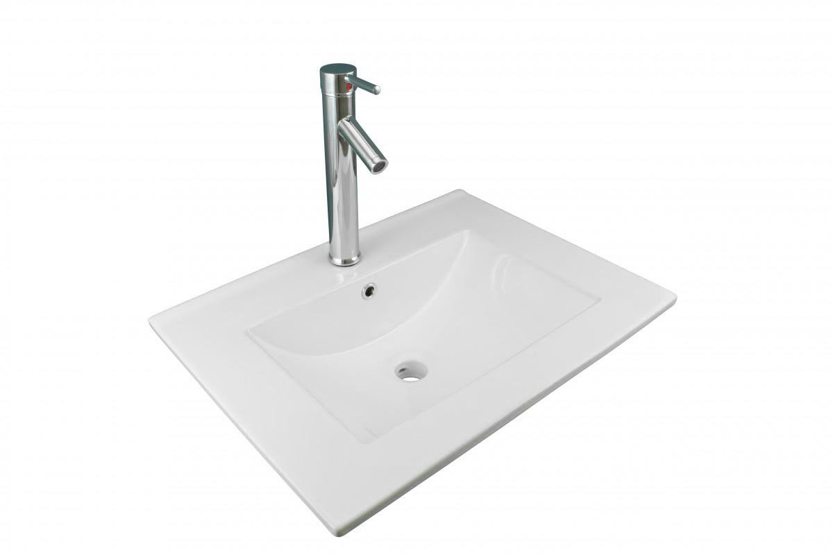 White Bathroom Drop in Sink Square Self-Rimming White China Sink with Single Faucet Hole