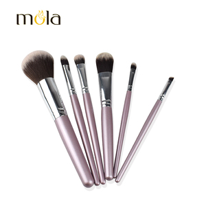 High quality traveling makeup brush set 6 pcs synthetic hair private label makeup brush