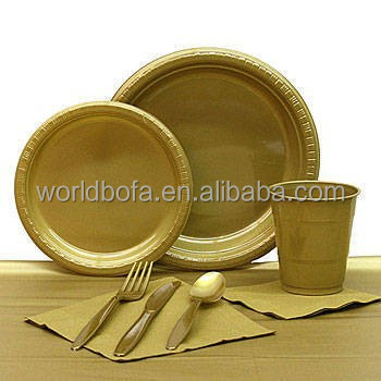 Gold round plate rectangle plate cups cutlery and napkin tableware set