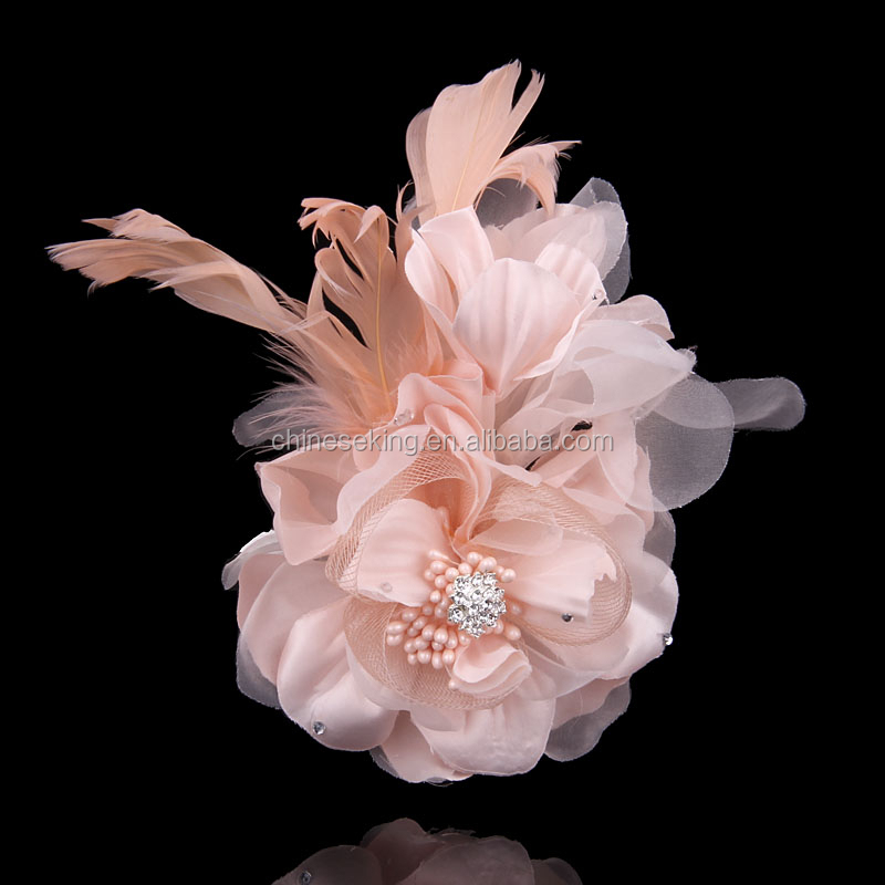 Married Big Flower Pin Corsage Fabric Rose Silk Yarn Feather ...