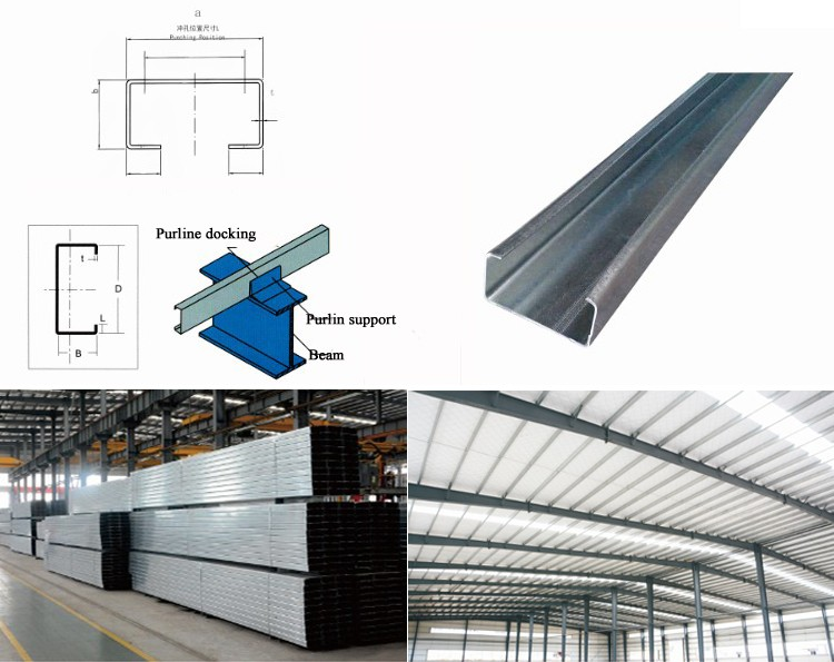 Construction Stainless C U Z Purlins Steel , Factory Z Shape Steel Purlin Z Channel Steel Beams Sizes for Sale