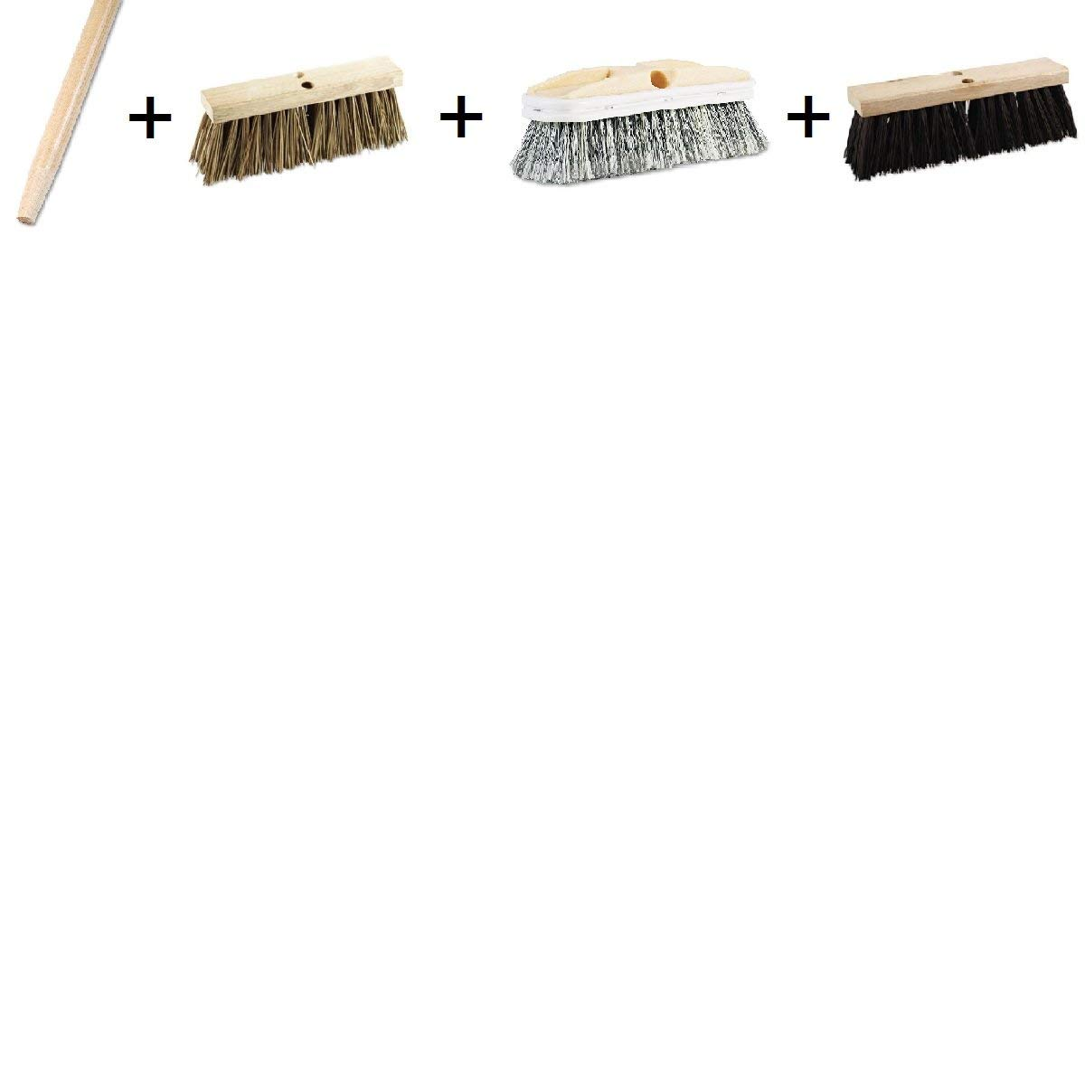 "60"" Handle with 3 Brush Set - Tapered End Broom Handle, Lacquered Hardwood, 1 1/8 Dia. x 60 Long, Polystyrene Vehicle Brush w/Vinyl Bumper, 2 1/2 Bristles, 10"" Brush, Street Broom Head, Polypropylene"