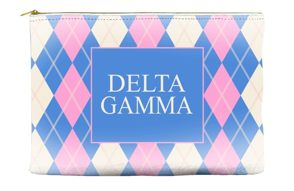 Delta Gamma (DG) Argyle Pattern Pink Blue Cosmetic Accessory Pouch Bag for Makeup Jewelry & other Essentials