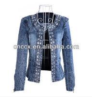 14LJ1073 new fashion beading jean jacket