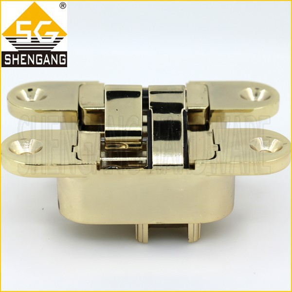 111.5 x 29mm Gold plated zinc alloy invisible hinge for wooden door