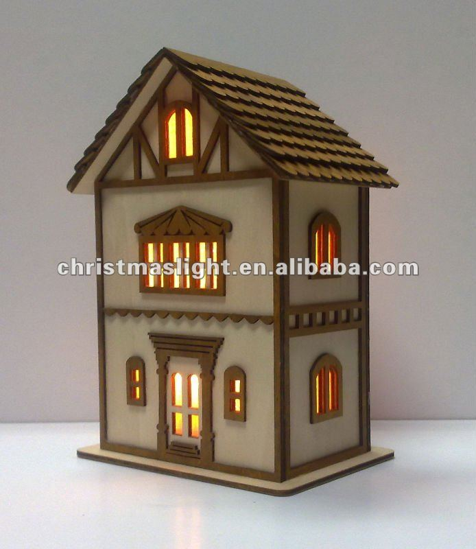 Iluminado de madera casas suministros de decoraci n de for Casitas madera decoracion