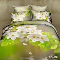 3D Spring White Flower Green Bedding Set and Quilt Cover