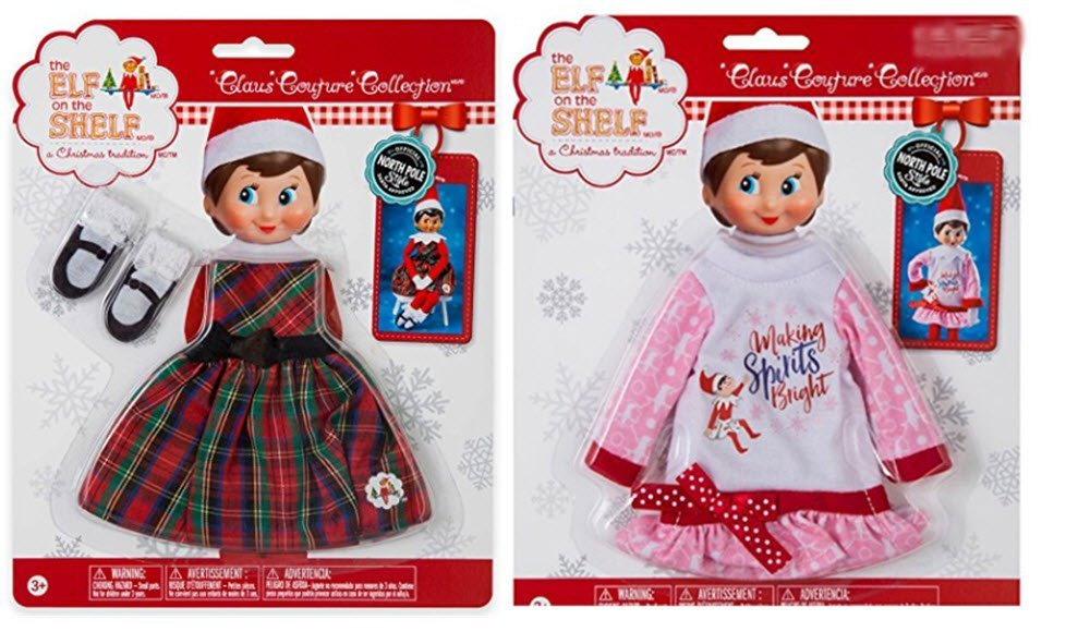 The Elf on the Shelf Claus Couture Collection Classy Christmas Dress & Making Spirits Bright Bundle of 2 Outfits