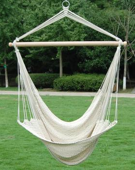 Outdoor Single Sleep Cotton Rope Swing White Hanging Hammock Chair