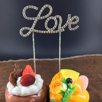 Love Gold Silver Metal With Rhinestone Cake Topper For Wedding Party  Cupcake Decoration Wholesale - Buy Love Cake Topper,Wedding Cake ...