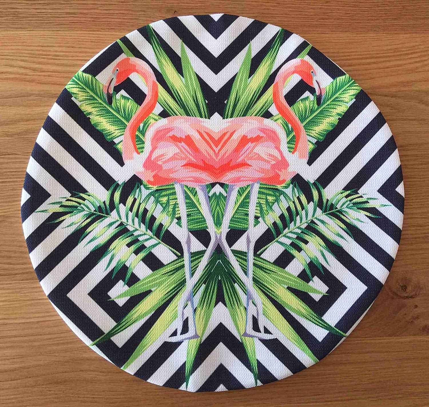 "TekgulDesign Flamingo Placemats,%100 Polyester, Handmade, Diameter: 35cm (14""), Crease Resistant and Stain-Proof Fabric, Modern and Colorful Ultra HD Graphics."