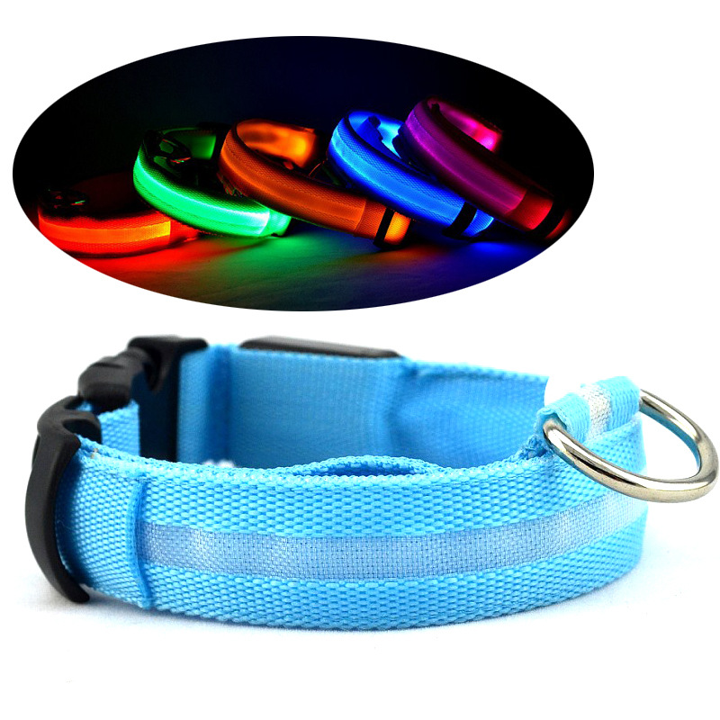 (Wholesale) Top Quality LED Pet Accessories Polyester LED Light Dog Collar for Pets and Cats