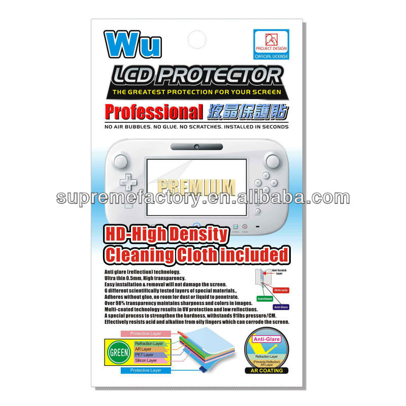 For Nintendo Wii U GamePad Clear Screen Protector with Cleaning Cloth