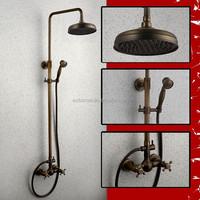 Antique Brass Wall Mounted Rain Shower Faucet Set with brass shower head