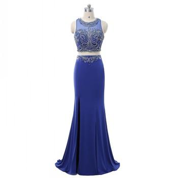 Azul Vestido De Noche Vestido Largo Vestido De Baile De Graduación 2018 Dos Piezas De Sirena De Cuentas Noche Maxi Vestidos De Fiesta Vestidos Para