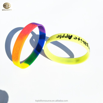 Colored Fashion Gel Wristband Custom Silicone Bracelets With Saying Or Logo