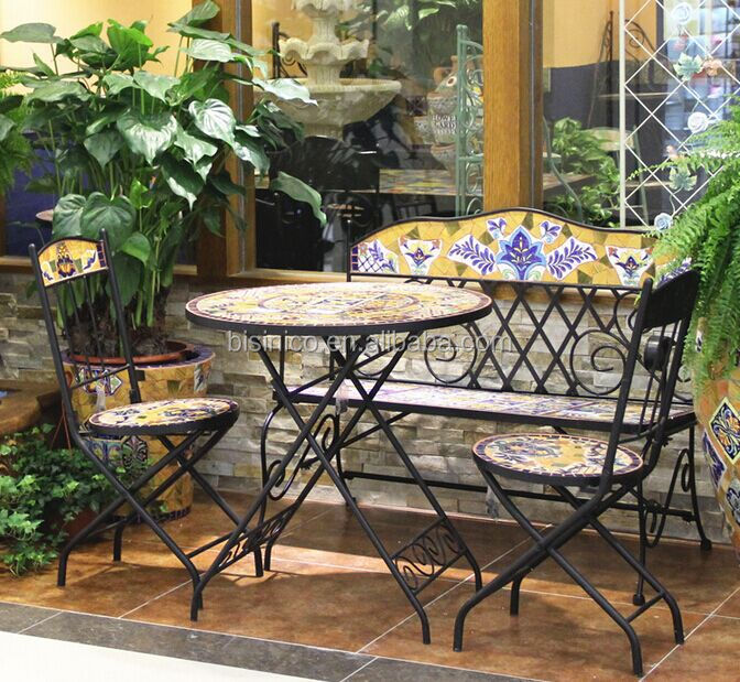 mexico style garden dining table and chairs outdoor wrought iron and ceramic mosaic roung. Black Bedroom Furniture Sets. Home Design Ideas