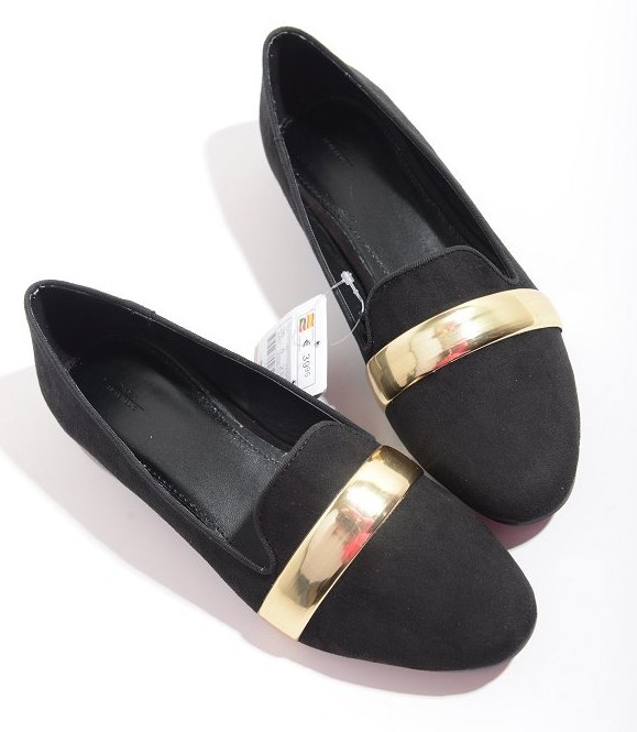 ac9dec368a5 Get Quotations · new arriv Women Super Cute Stylish brand Flats Shoes Black  and Gold Suede Flats Loafers low