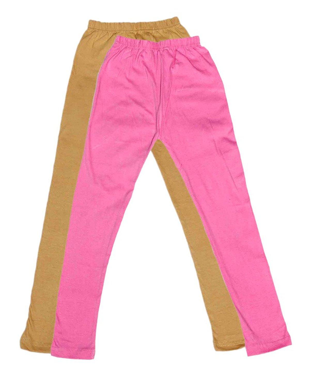 Indistar Girls Super Soft Ankle Length Cotton Lycra Leggings /_Beige::Black::Purple Pack of 3