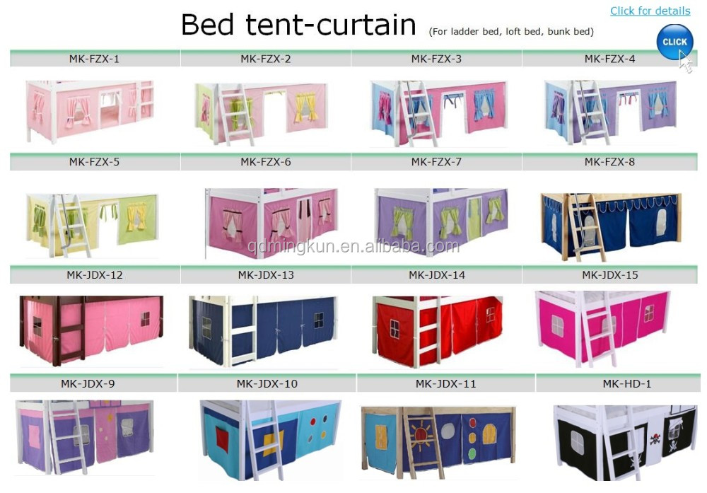 Kids Mid Sleeper Bed Play Fabric Tent With Curtain Canopy Castle