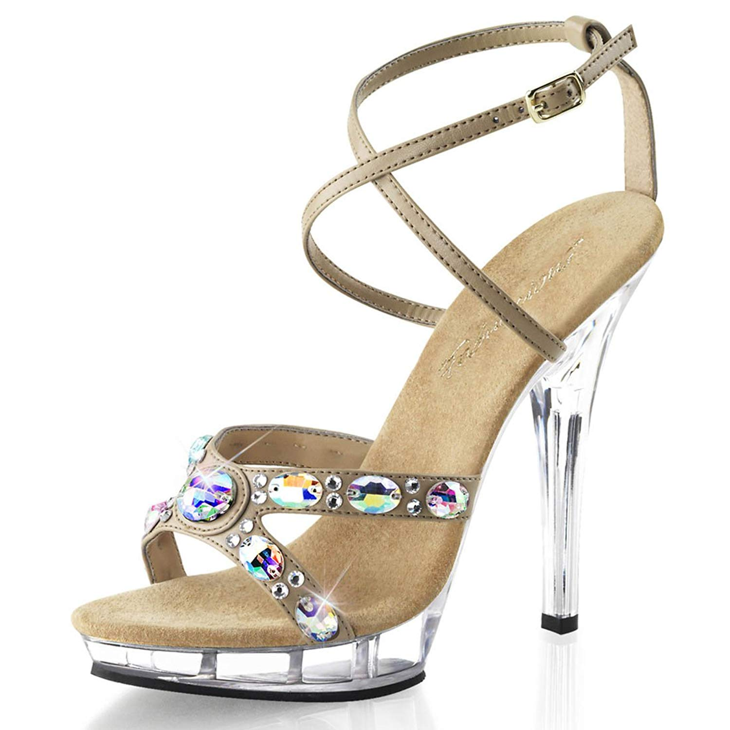 d141b0de7040 Get Quotations · Summitfashions Strappy Nude Embellished Sandals with  Rhinestones and 5 Inch Lucite Heels