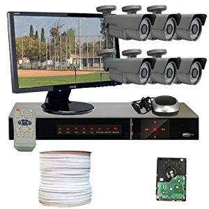 GW Security VD6CHH2 8-Channel HD-SDI DVR 6 x Professional 1/3 Inches 2.1 Meg CMOS Camera with 1080P 2.8 to 12mm Lens, 72 Pieces IR LED 196-Feet IR Distance (Colorful)