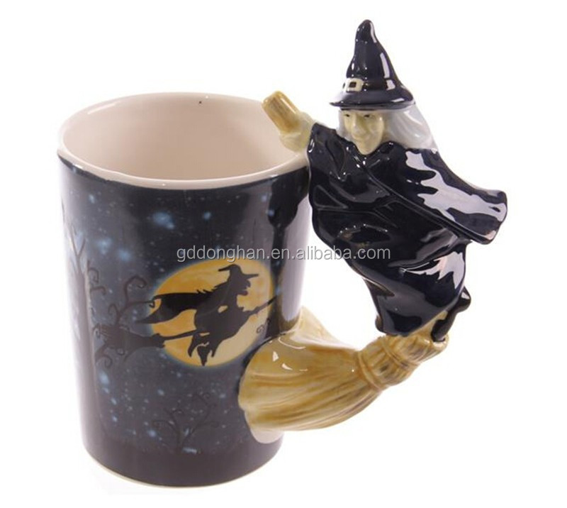 hot sale creative fairy tale porcelain Witch on Broomstick Handle Mug