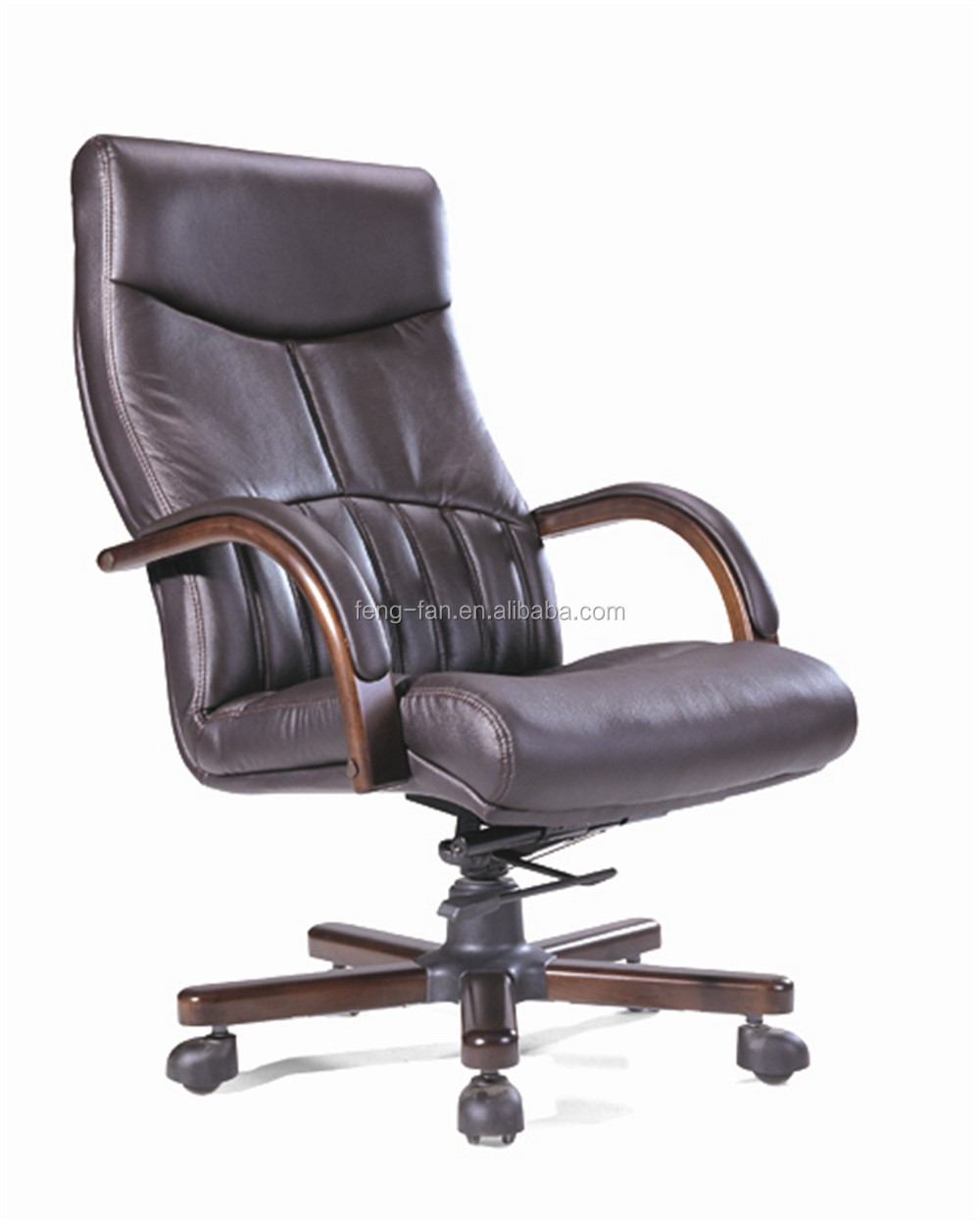 PU leather high back computer office chair with wood base 9116
