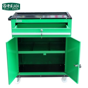 LAOA high quality thick iron with drawer heavy duty workshop garage tool trolley cart with double doors and locks