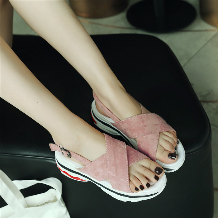 Ladies Women's PU Leather Sport Sandals Platform Fitness Sneakers Shoes