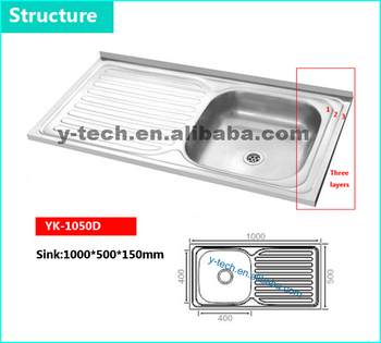 Ukuran Umum Stainless Dapur Baskom Lipat Wastafel Steel Yk 1050d