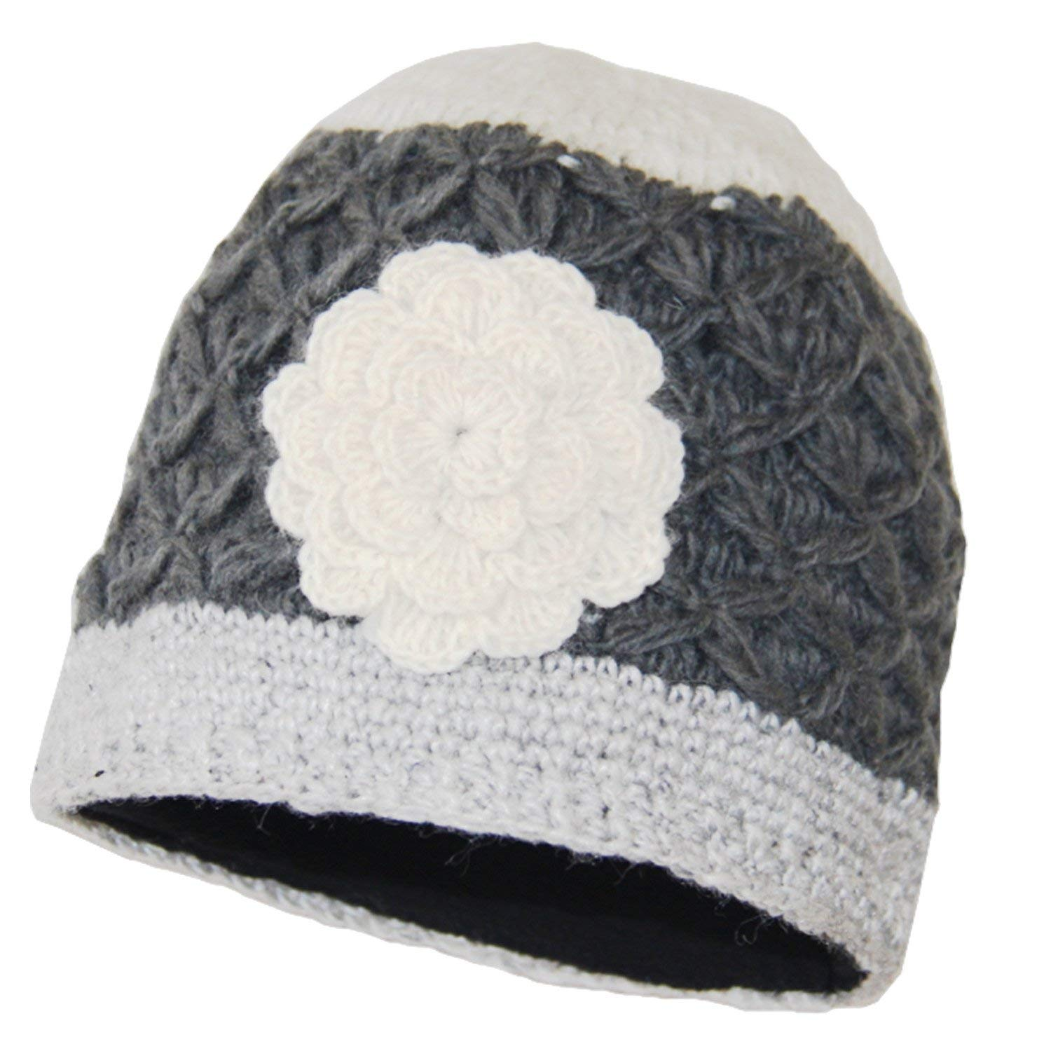 74c9c38b085 Get Quotations · SIJJL Gray-Ivory Crochet Flower Beanie