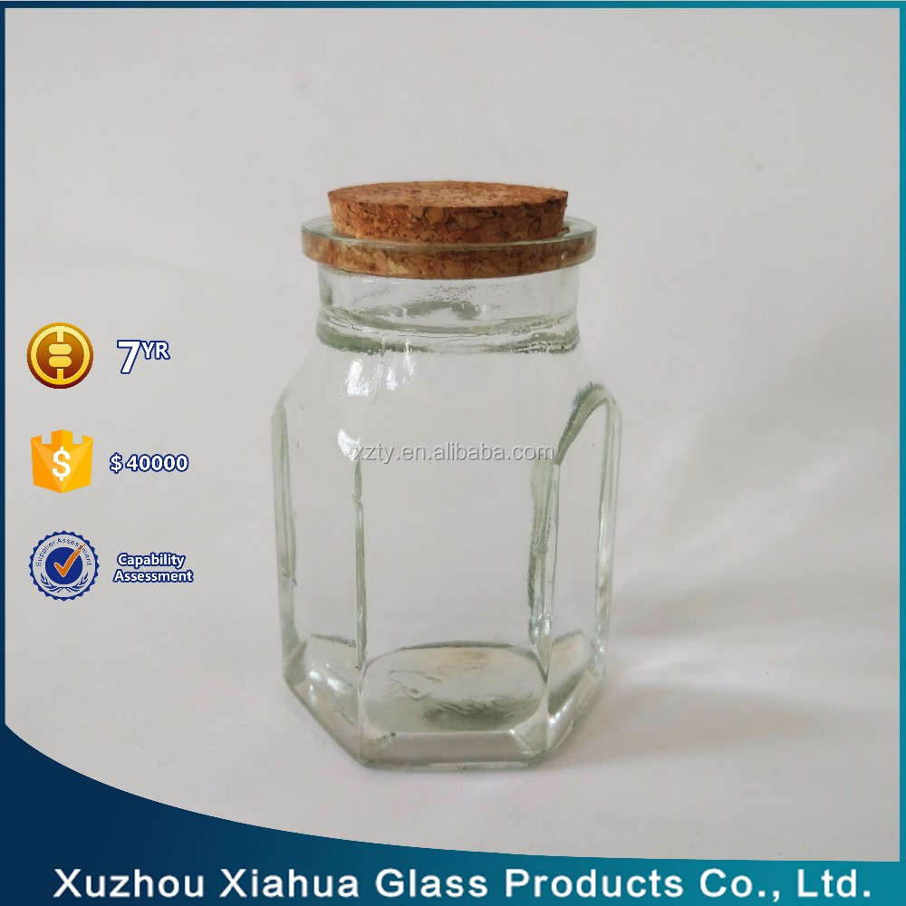 300ml 10 oz hexagon cork lid glass candle jar