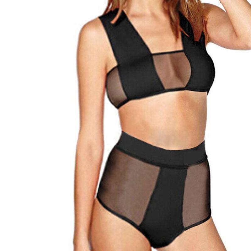 6c8edbeb320 Get Quotations · 2015 Newest Black Sexy Bandage Bikini Sets High Waist  Swimsuit Mesh Bikini Top String Summer Swimwear