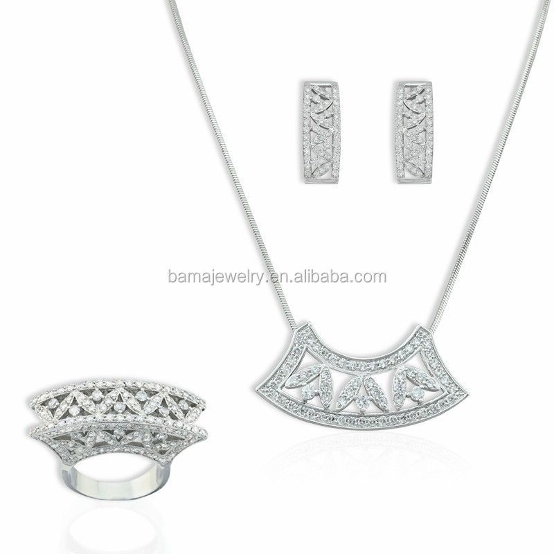 BAMA Fashion Jewelry Sets 925 Sliver Rhodium Plated With White Cubic Zirconia