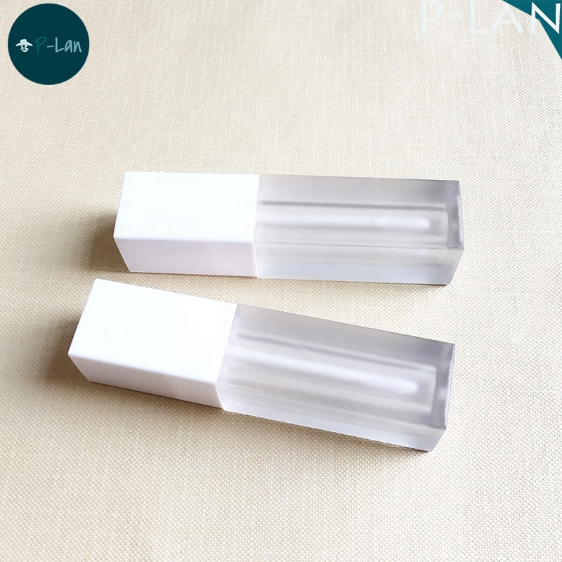 P-Lan Brand Stock 100pieces UV Glossy White Cap Frosted Body Square Empty 5ml Lipstick Liquid Container