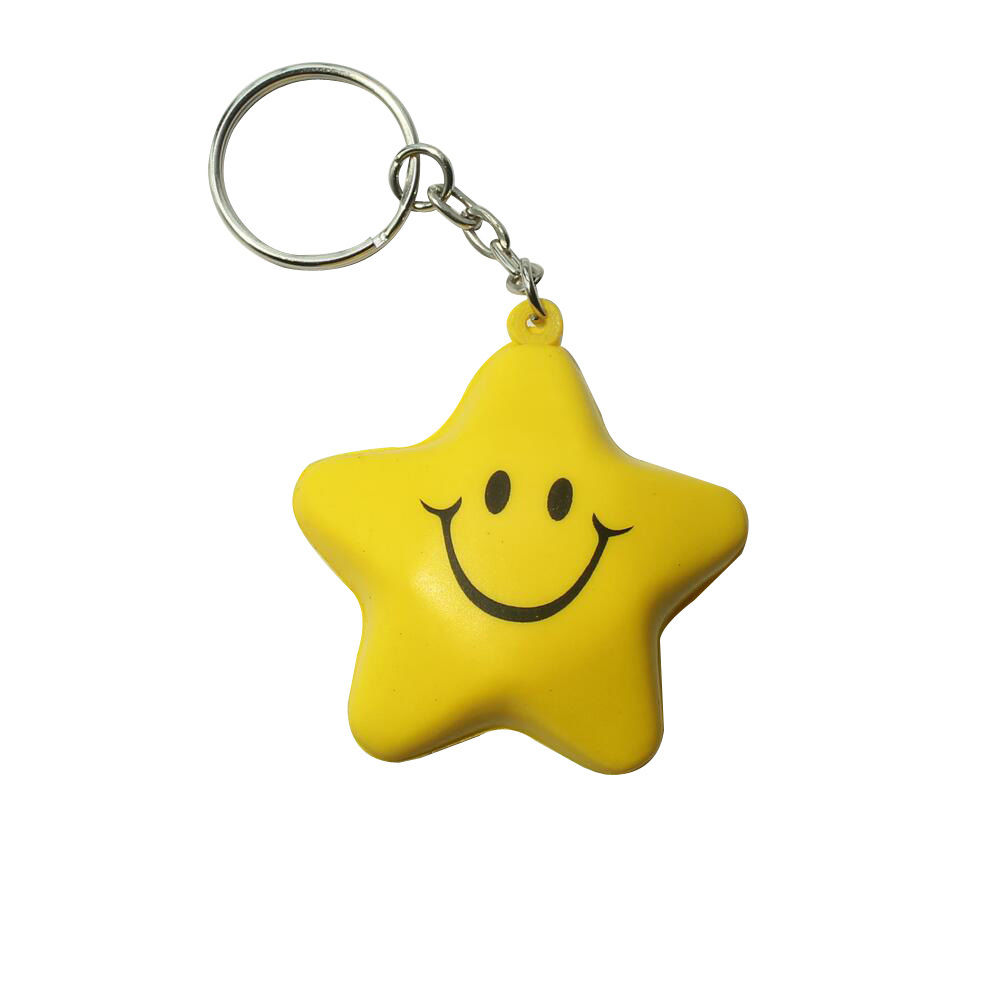 Star Smile Face Soft PVC Key Chain Keychains Keyfob Charm Ornament Pendants