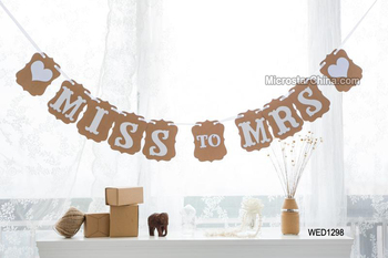 Miss To Mrs Vintage Wedding Photo Booth Props Banner Garland Gift