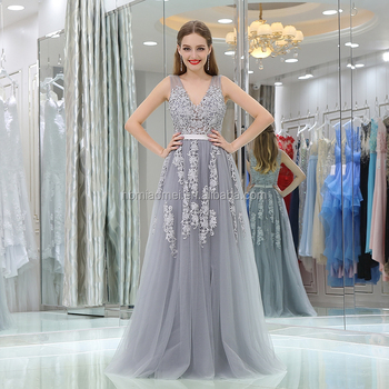 163f367cd Aliexpress hot sell sleeveless beautiful bridal gown grey color laced deep v -neck evening dress