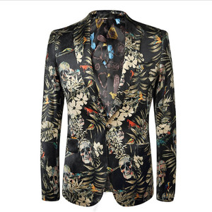 Italian fashion fitted wedding party skinning skull printed tuxedo Men blazer velvet suits