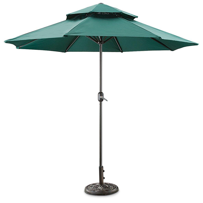 Etonnant Get Quotations · CASTLECREEK 9u0027 Two Tier Patio Umbrella With Crank, Hunter  Green