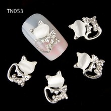 10pcs Glitter Kitty cat Rhinestones 3d Nail Art Decorations, Alloy Nail Sticker Charms Jewelry for Nail Gel/Polish Tools TN053