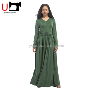 European Fashion 5 Colors Red Waist Band Long Sleeve V Neck Party Long Maxi Dress